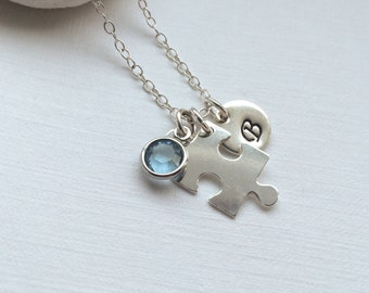 Sterling Silver Personalized Puzzle Piece Necklace - Personalized Initial and Birthstone Silver Necklace, Jigsaw Necklace