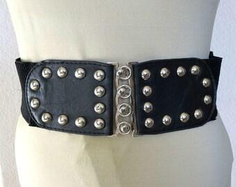 Vintage Black Leather Metal Studs Studded Stretch Belt