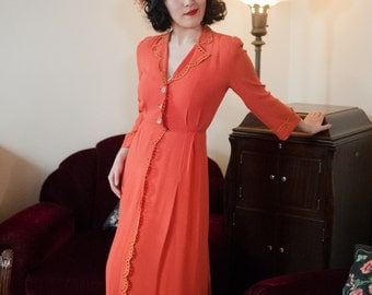 Vintage 1940s Dress - Bold Tangerine Rayon Evening Gown with Embroidered Eyelet Trim And Rhinestone Buttons