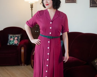 1940s Vintage Dress - Stunning Fuchsia Linen Blend Day Dress with Soutache and Rhinestones