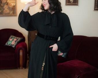 Vintage 1930s Coat - Crisp Black Wool Streamlined Deco NRA Label 30s Coat with Stunning Billowing Balloon Sleeves