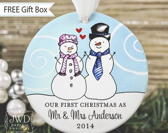 Our First Christmas Ornament Newlywed Ornament Mr & Mrs Ornament Personalized Wedding Gift Couples Ornament Snowman Ornament - Item# SC-MM-O