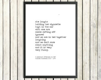 Charles Bukowski Instant Poetry 'In Bed Together' Digital Download Hand Typed Printable Poem Romantic Gift Vintage Love Print Instant Gift