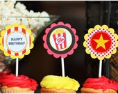 "Printable Movie Night 2"" Circles - Favor Tags, Cupcake Toppers or labels, Oscars Party - Print at Home PDF Files (Instant Download)"