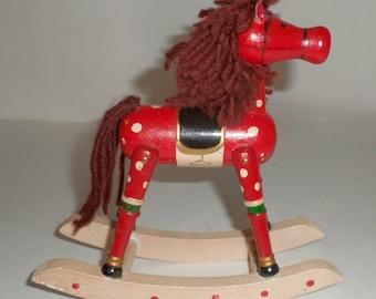 Vintage Wood Rocking Horse Decor - Christmas Rocking Horse - Holiday Decor - Shelf Sitter - Yarn Mane & Tail - Large Rocking Horse Ornament