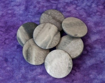 Gray Coat Buttons 25mm - 1 inch Smooth Marbled Matte Grey Sewing Buttons - 7 VTG NOS Neutral Monotone Moonscape Gray Plastic Buttons PL162