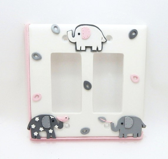 Items Similar To Elephant Double Light Switch Cover Gray