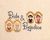Pride and Prejudice Cross Stitch Pattern- Jane Austen Inspired PDF Digital Instant Download