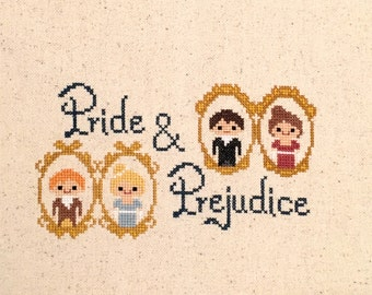 Pride and Prejudice Cross Stitch Pattern- Jane Austen Inspired PDF Digital Instant Download
