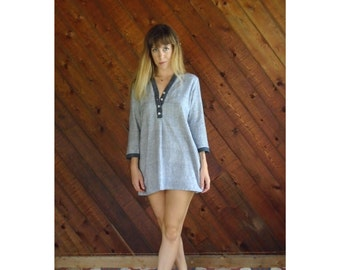 Woven Beachy 3/4 Sleeve Mini Dress - Vintage 90s - MEDIUM Petite