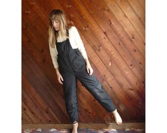 Black Nylon Snow Suit Overalls - Vintage 90s - XS/S Petite