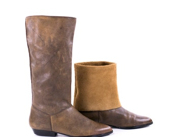 Vintage boots Knee High Convertible Slouch Ankle Boots Brown Leather Flat Boots Size 8.5