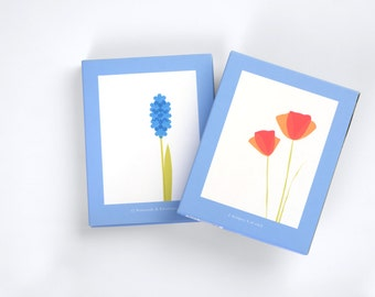 Poppies And Hyacinth boxed note card set