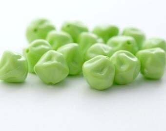 Vintage Opaque Lime Green Lucite Pinched Nugget Drop Beads 12mm (20)
