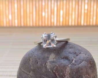 White Topaz Ring Square Sterling Silver Princess Made To Order
