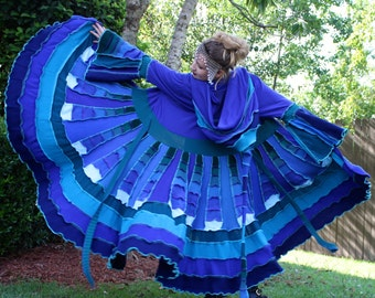 Ready to Ship- Upcycled Sweater Coat with a Medieval Liripipe Hood by SnugglePants- Cascade Waterfall- Shades of Blue