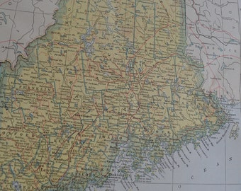 1917 State Map Maine - Vintage Antique Map Great for Framing