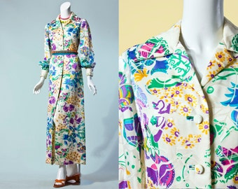 70s Colorful Floral Sheer Sleeve Maxi Dress Or Duster | Small