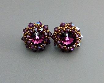 Amethyst Swarovski Crystal Rivoli Beaded Stud Earrings Handmade Sterling silver ear posts