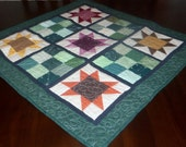 Quilted Table Runner, Square Table Topper, 30x30 inches, Scrappy Stars, Machine Quilted, Fabric Wall Decor, Wall Hanging