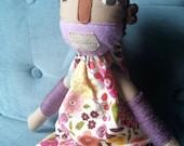 "Handmade Soft Cloth Doll ""Jillian"", Multicultural Doll, Mixed Media Cloth Doll"