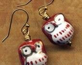 Owl Earrings, 18 K golf Filled Ear wire Owl Earrings, Brown Gold White Owl Earrings, Hoot Earrings, Bird Earrings, Owl Jewelry by Annaart72