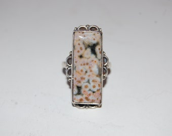 Large Rectangular Speckled Dalmatian Jasper Semi-Precious Stone Sterling Silver Ring, Statement Ring