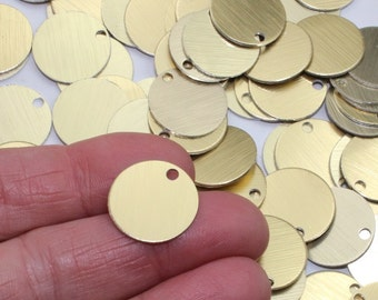 """11/16"""" Brushed Gold Stamping Blanks 10 Or More Anodized Aluminum 20 Gauge 0.78mm Discs Tags Nearly 3/4"""" Blanks for Stamping Small Metal Tags"""