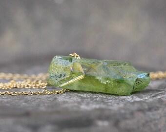 Green Aura Quartz Pendant - Quartz Necklace - Modern Minimalist Jewellery - 14K Gold Filled - Rustic Green Gemstone -Green Aura Quartz Point