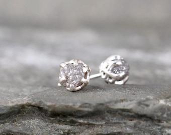 Raw Diamond Earrings - Sterling Silver Vintage Inspired - 2 Carat Stud Earring - April Birthstone - Uncut Diamond - Conflict Free Diamonds