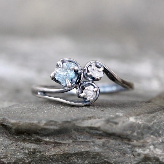 Raw Blue Diamond Trio Ring Uncut Rough Diamond By ASecondTime