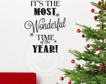 It's the most wonderful time of the year! vinyl lettering decal sticker wall decor self adhesive christmas gift
