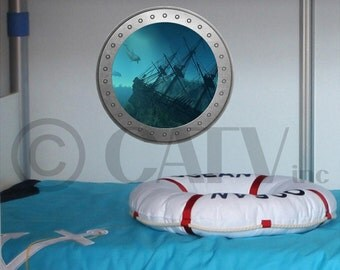 Porthole Shipwreck vinyl wall lettering kids room decor boat ocean theme wall decal self adhesive sticker