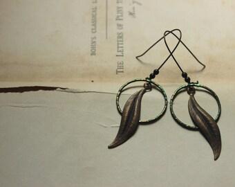 The Tendril Earrings. Rustic Bohemian Nature Woodland Artisan Emerald Green Hoop and Leaf Earrings.