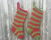 Special Listing for Emma- Set of 2 Knit Christmas Stockings- Red and Green Christmas Stockings-  Striped Christmas Stockings