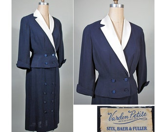 1950s Vintage Navy and White Summer Dress Suit