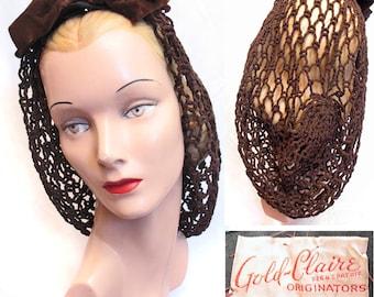 Vintage 1940s WWII Brown Snood Hat