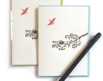 Letterpress Cards, Box of 6 Mama Bird Card, Birds Nest Card, Mommy Bird Baby Birds Card, Blank Greeting Cards, Handmade Card, Nature Card