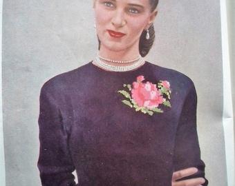 VOGUE Knitting Book No 32 1948 vintage original patterns 1940s 40s women's designer sweaters blouses cardigans dresses suits babies layette