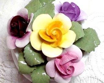 Flower Pot - Roses Pink Yellow Lilac Burgundy - Vintage Fine Bone China - England - Mini Rose Spring Garden Ashmole Byng Elegant Table Decor