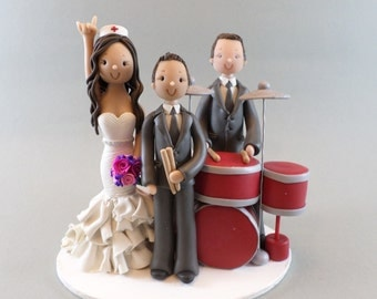 Custom Handmade Family with Drums Wedding Cake Topper -