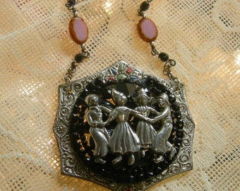Repurposed Vintage Assemblage Necklace - Vintage Dancing Children Brooch - Antique Czech Belt Buckle - Chains Adjustable