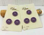 Vintage Elan Purple Buttons on Original Button Card, Size 24 16mm 5/8 inch