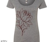 Womens LOTUS FLOWER TriBlend Scoop Neck Tee - T Shirt s m l xl xxl (+ Colors)