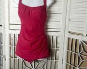 1950s Fuchsia Swimsuit - vintage bathing suit - pin up swimsuit - resort - built-in bra bathing suit - rouched bathing suit - bombshell