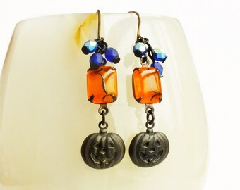 Halloween Orange Pumpkin Rhinestone Earrings Antique Brass Charms Vintage Rhinestones Victorian Halloween Pumpkin Jewelry