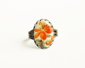 Orange Flower Ring Vintage Floral Cameo Adjustable Raw Brass Tangerine Victorian Jewelry