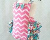 Baby Girl Romper - Pink Chevron romper - Baby Retro Romper - Cake Smash Outfit - Ruffled Romper - Baby Jumpsuit  - 1st Birthday Romper