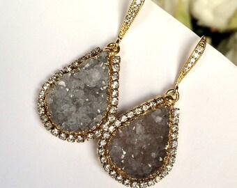 Druzy Earrings Silver Grey Druzy Quartz Earrings Swarovski Crystal Diamond Look Pave Large Crystal Beach Wedding Bohemian Boho Chic Bride