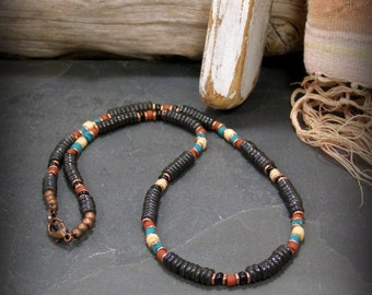 Mens Necklace, Heishi Necklace, Mens Long Necklace, Mens Jewelry, Beaded Necklace, Necklace for Men, Native American, Southwest Jewelry